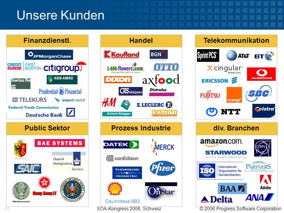 SOA-Kongress 2006, Schweiz © 2006 Progress Software Corporation 21 Unsere Kunden Telekommunikation Public SektorProzess Industrie Handel Finanzdienstl.