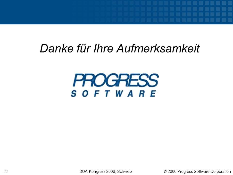 SOA-Kongress 2006, Schweiz © 2006 Progress Software Corporation 22 Danke für Ihre Aufmerksamkeit