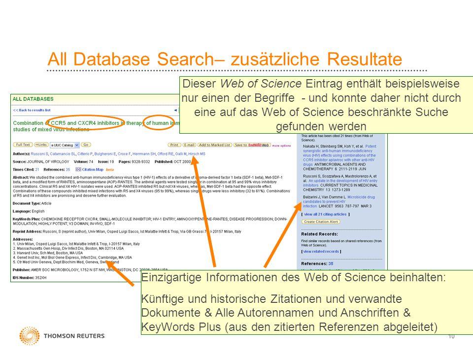 10 All Database Search– zusätzliche Resultate Dieser Web of Science Eintrag enthält beispielsweise nur einen der Begriffe - und konnte daher nicht dur