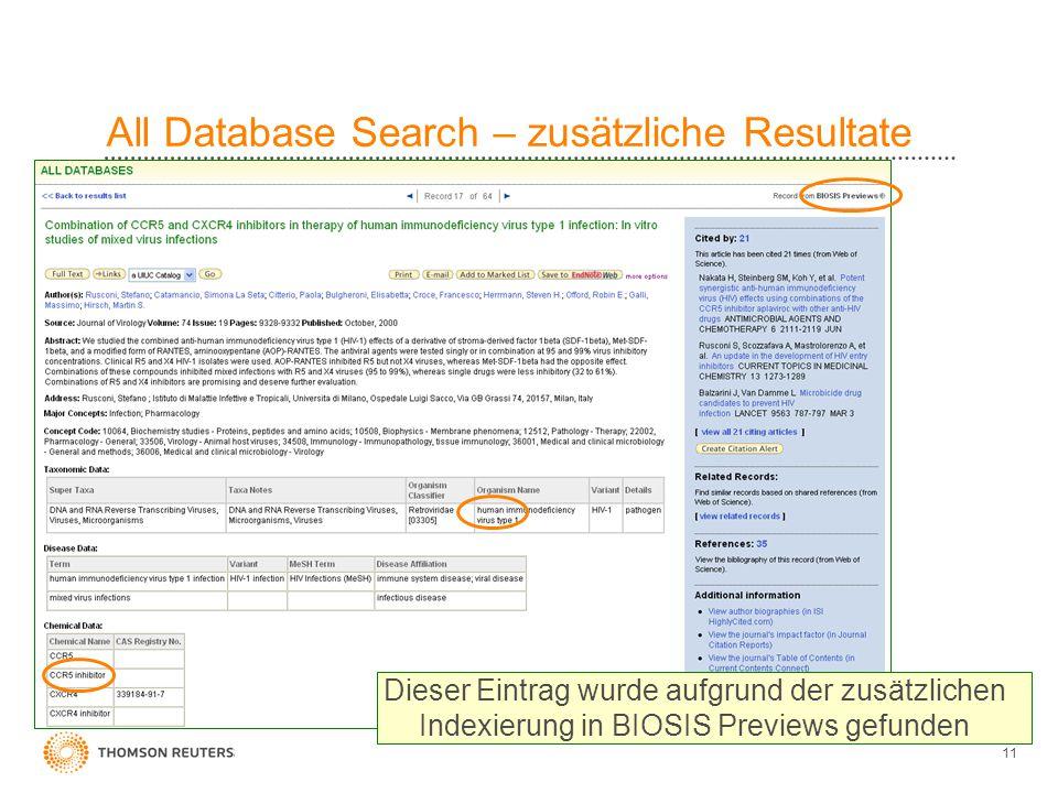 11 All Database Search – zusätzliche Resultate Dieser Eintrag wurde aufgrund der zusätzlichen Indexierung in BIOSIS Previews gefunden
