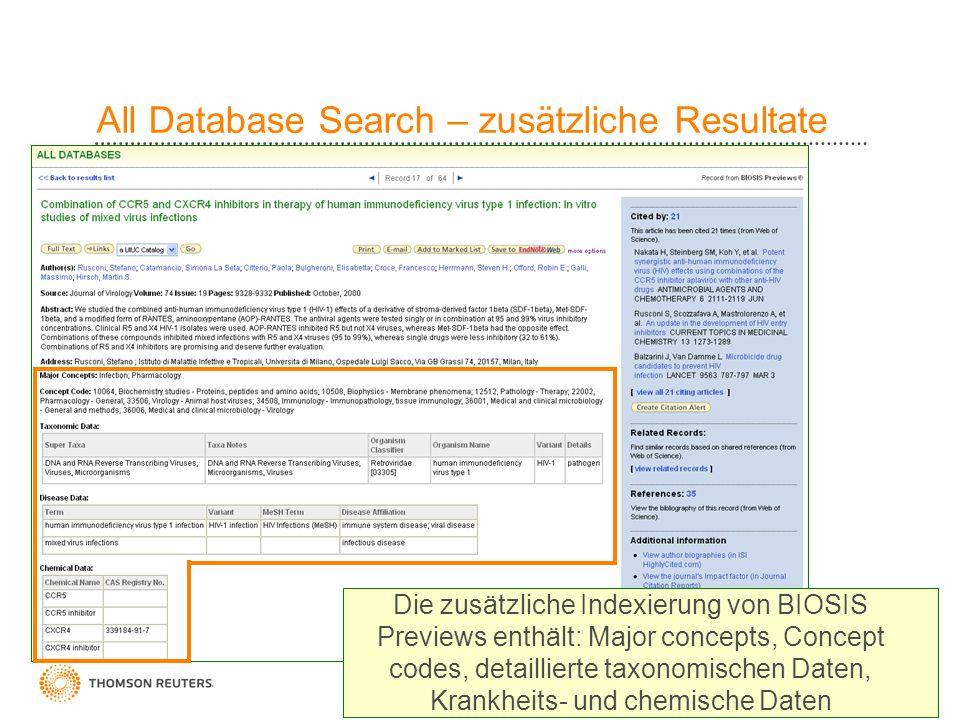 12 All Database Search – zusätzliche Resultate Die zusätzliche Indexierung von BIOSIS Previews enthält: Major concepts, Concept codes, detaillierte ta