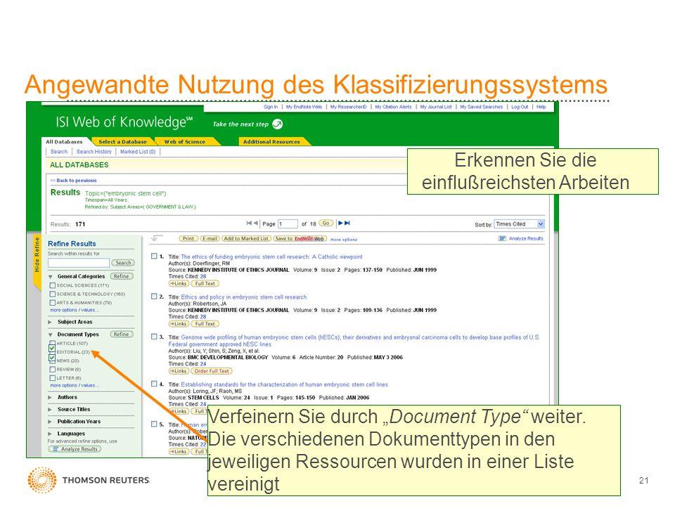 """21 Angewandte Nutzung des Klassifizierungssystems Verfeinern Sie durch """"Document Type"""" weiter. Die verschiedenen Dokumenttypen in den jeweiligen Resso"""