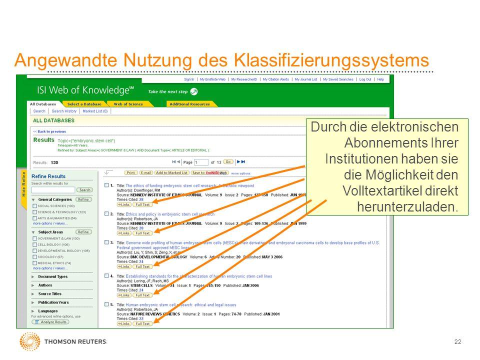 22 Angewandte Nutzung des Klassifizierungssystems Durch die elektronischen Abonnements Ihrer Institutionen haben sie die Möglichkeit den Volltextartik