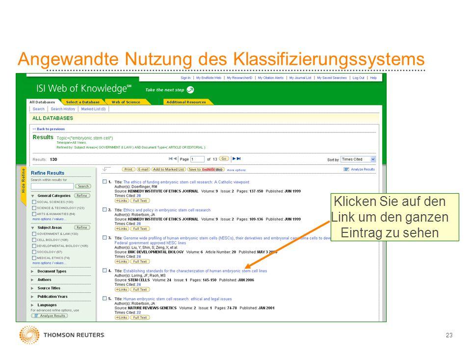 23 Angewandte Nutzung des Klassifizierungssystems Klicken Sie auf den Link um den ganzen Eintrag zu sehen