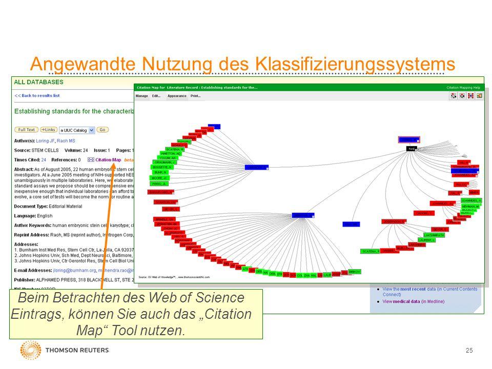 """25 Angewandte Nutzung des Klassifizierungssystems Beim Betrachten des Web of Science Eintrags, können Sie auch das """"Citation Map"""" Tool nutzen."""