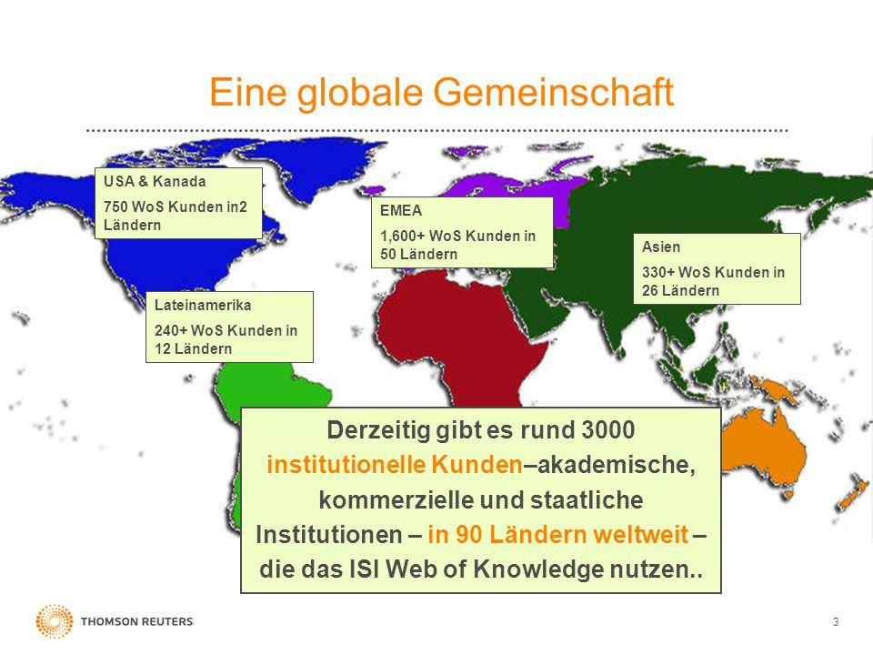 3 Derzeitig gibt es rund 3000 institutionelle Kunden–akademische, kommerzielle und staatliche Institutionen – in 90 Ländern weltweit – die das ISI Web