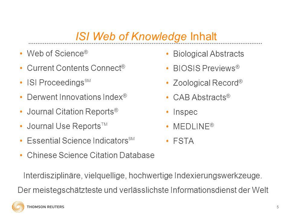 16 All Database Search: Cross Content Klassifizierung Jede fachspezifische Ressource im ISI Web of Knowledge hat ihre eigene Klassifizierung auf der Artikelebene: Zum Beispiel MESH, BIOSIS Concepts, CABI codes and Inspec Klassifizierungen.