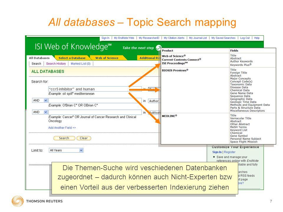 8 Web of Science - Suche Die Suche nach CCR5 inhibitor and human erzielt 39 Web of Science Treffer, in denen dieser Begriff innerhalb des Titels, des Abstraktes, der Autoren oder der Schlüsselwörter (Keywords) beinhaltet ist.