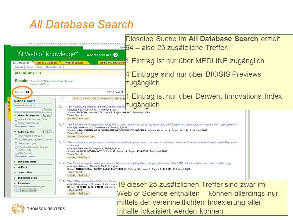 9 All Database Search Dieselbe Suche im All Database Search erzielt 64 – also 25 zusätzliche Treffer. 1 Eintrag ist nur über MEDLINE zugänglich 4 Eint