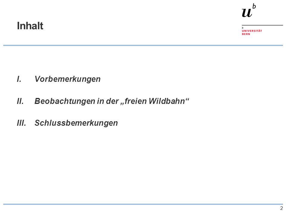 """22 Inhalt I.Vorbemerkungen II.Beobachtungen in der """"freien Wildbahn III.Schlussbemerkungen"""