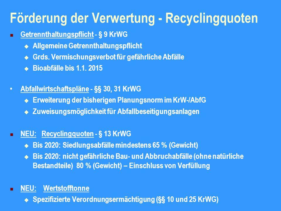 Förderung der Verwertung - Recyclingquoten Getrennthaltungspflicht - § 9 KrWG  Allgemeine Getrennthaltungspflicht  Grds.