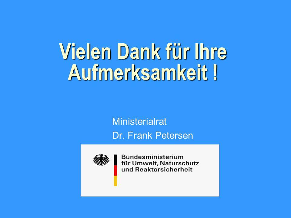 Vielen Dank für Ihre Aufmerksamkeit ! Ministerialrat Dr. Frank Petersen