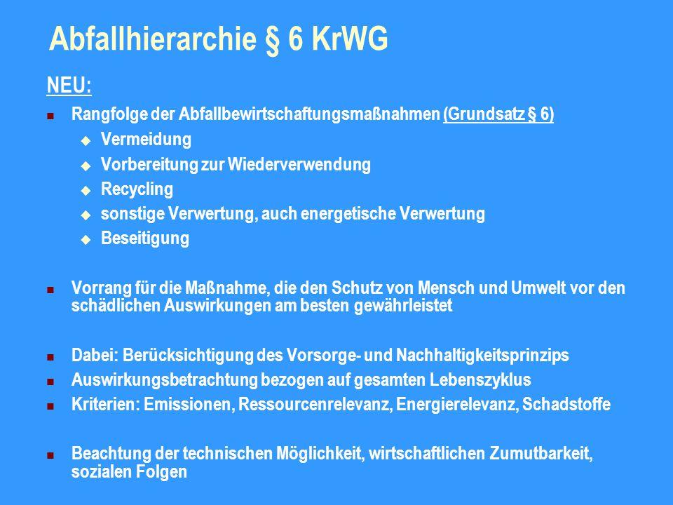 Umsetzung der Abfallhierarchie § 7, 8 KrWG Allgemeine Grundpflicht der Verwertung - § 7 Abs.