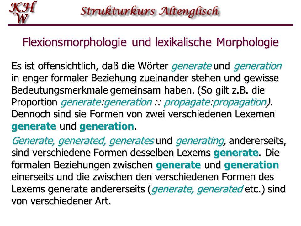Flexionsmorphologie und lexikalische Morphologie Es ist offensichtlich, daß die Wörter generate und generation in enger formaler Beziehung zueinander stehen und gewisse Bedeutungsmerkmale gemeinsam haben.