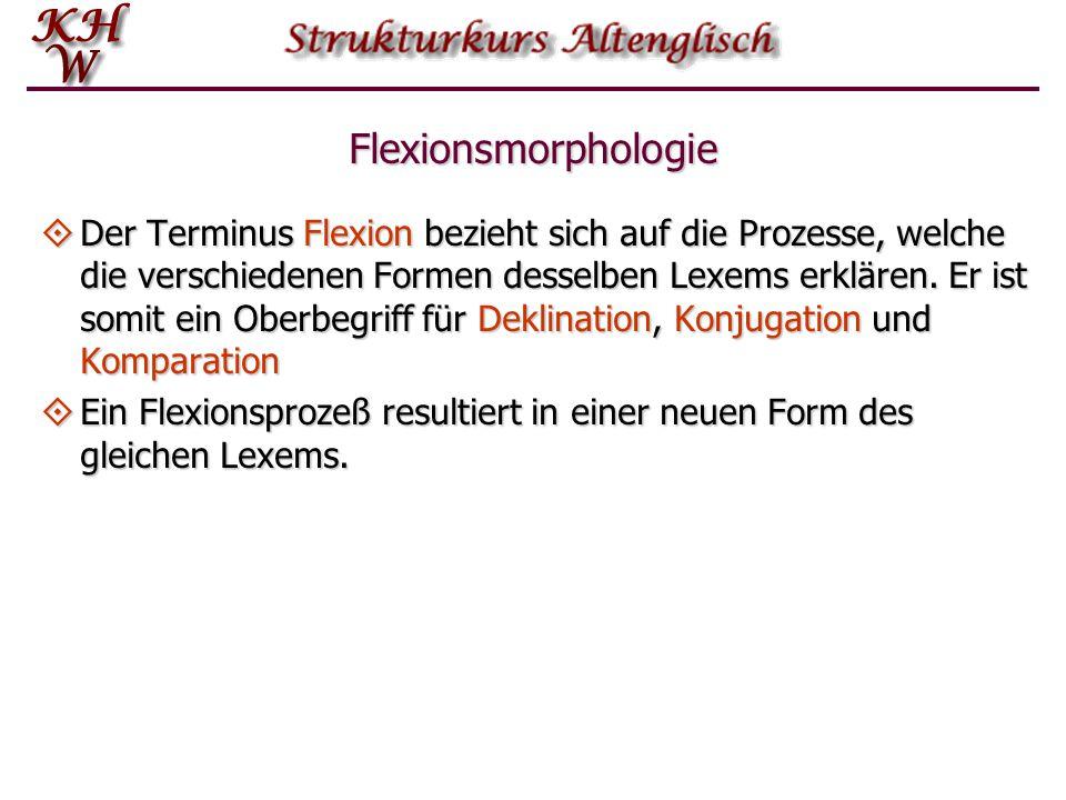 Flexionsmorphologie  Der Terminus Flexion bezieht sich auf die Prozesse, welche die verschiedenen Formen desselben Lexems erklären.