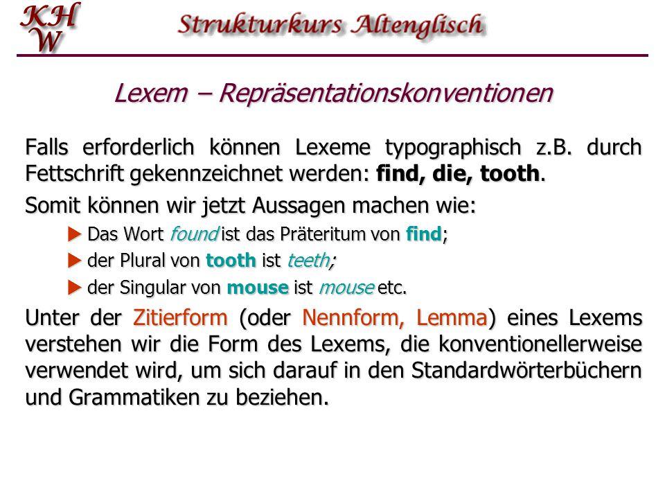 Lexem – Repräsentationskonventionen Falls erforderlich können Lexeme typographisch z.B.
