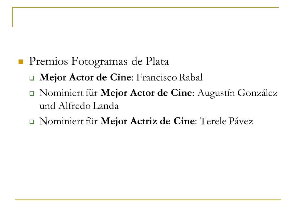 Premios Fotogramas de Plata  Mejor Actor de Cine: Francisco Rabal  Nominiert für Mejor Actor de Cine: Augustín González und Alfredo Landa  Nominiert für Mejor Actriz de Cine: Terele Pávez
