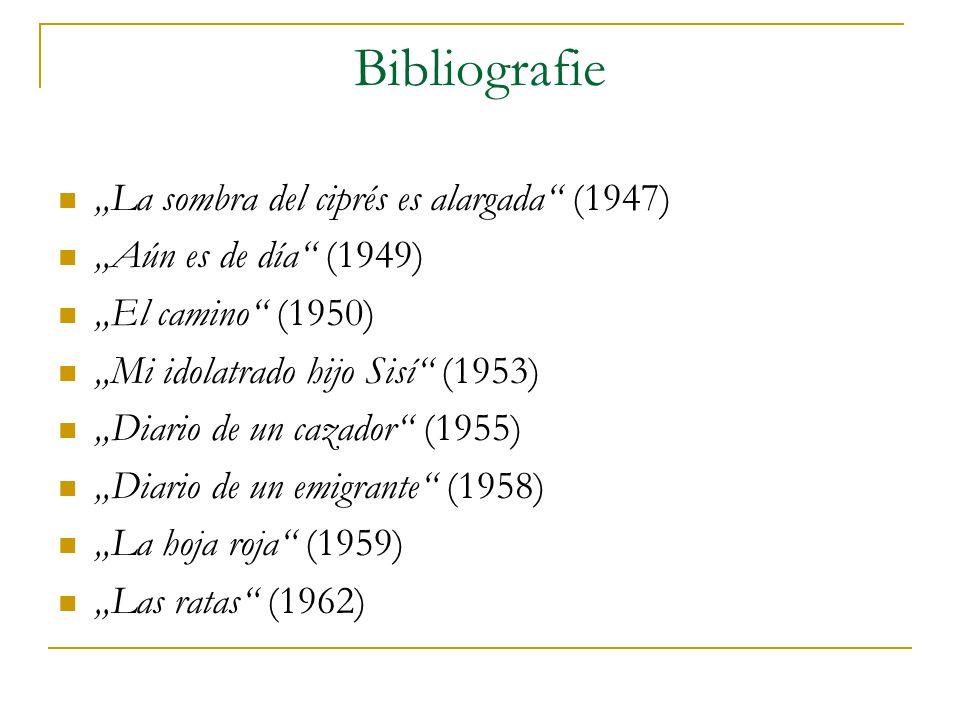 """Bibliografie """"La sombra del ciprés es alargada (1947) """"Aún es de día (1949) """"El camino (1950) """"Mi idolatrado hijo Sisí (1953) """"Diario de un cazador (1955) """"Diario de un emigrante (1958) """"La hoja roja (1959) """"Las ratas (1962)"""