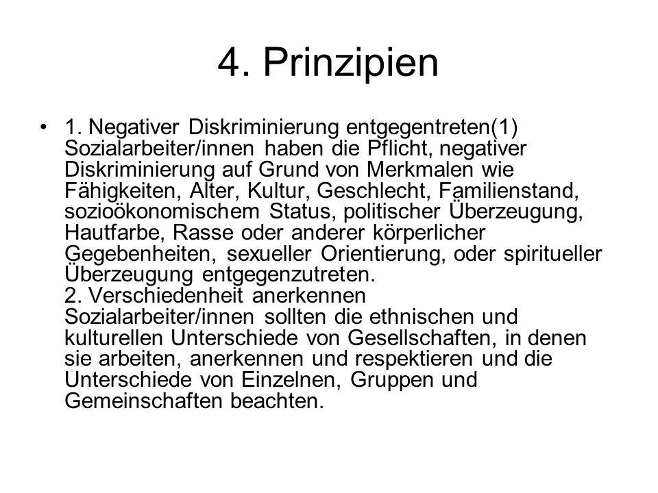 4. Prinzipien 1. Negativer Diskriminierung entgegentreten(1) Sozialarbeiter/innen haben die Pflicht, negativer Diskriminierung auf Grund von Merkmalen