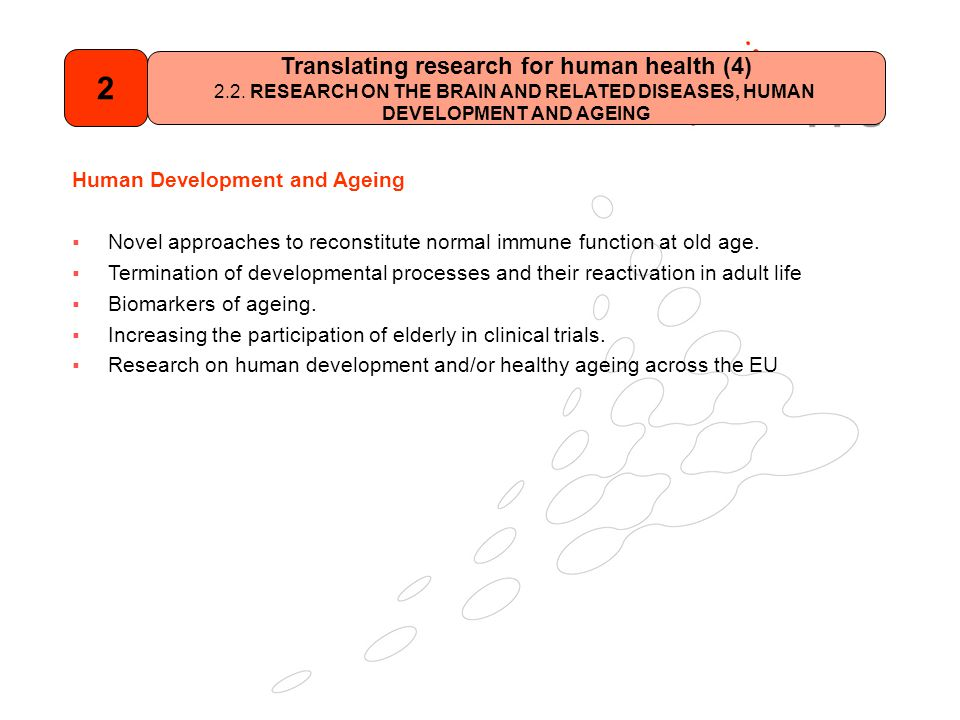 Human Development and Ageing  Novel approaches to reconstitute normal immune function at old age.