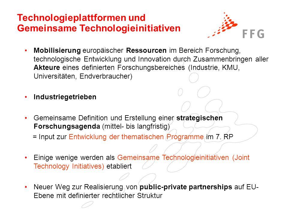 Technologieplattformen und Gemeinsame Technologieinitiativen Mobilisierung europäischer Ressourcen im Bereich Forschung, technologische Entwicklung un