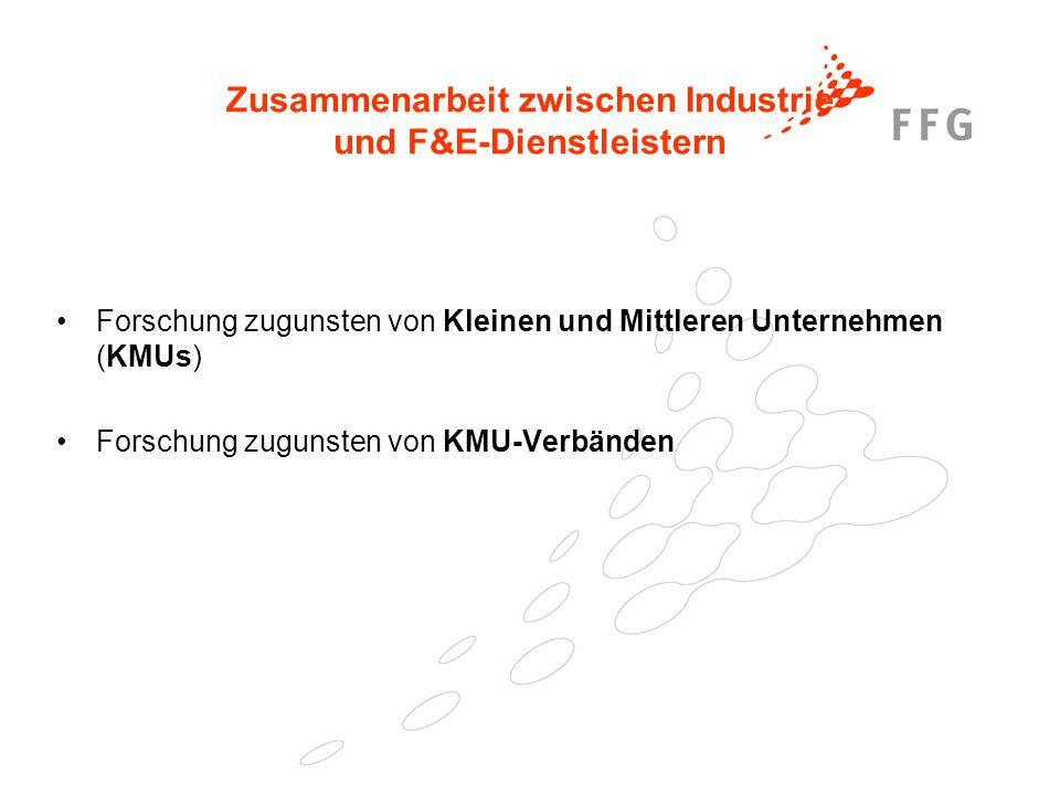 25. Februar 2005Präsentationstitel der FFG34 Zusammenarbeit zwischen Industrie und F&E-Dienstleistern Forschung zugunsten von Kleinen und Mittleren Un