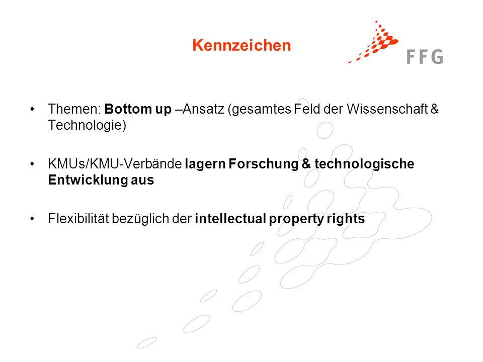 25. Februar 2005Präsentationstitel der FFG35 Kennzeichen Themen: Bottom up –Ansatz (gesamtes Feld der Wissenschaft & Technologie) KMUs/KMU-Verbände la