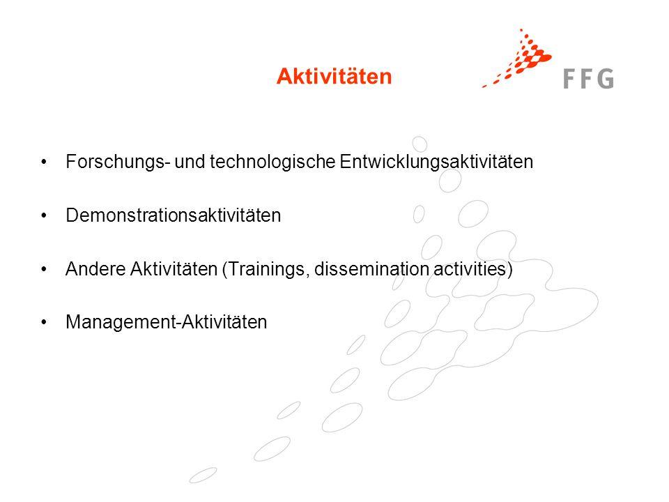 25. Februar 2005Präsentationstitel der FFG36 Aktivitäten Forschungs- und technologische Entwicklungsaktivitäten Demonstrationsaktivitäten Andere Aktiv