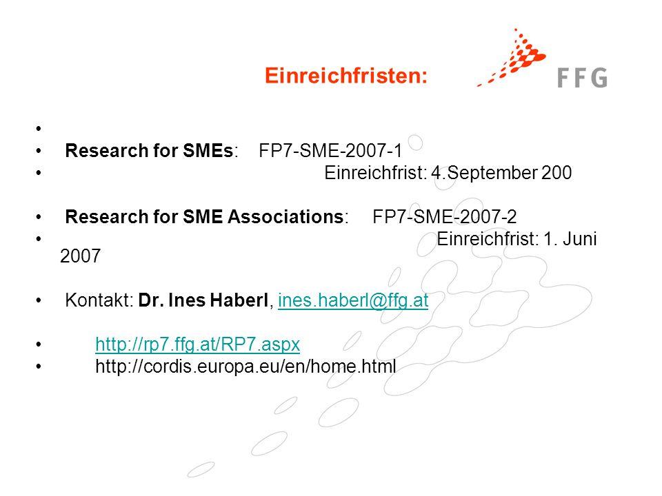 25. Februar 2005Präsentationstitel der FFG40 Einreichfristen: Research for SMEs: FP7-SME-2007-1 Einreichfrist: 4.September 200 Research for SME Associ