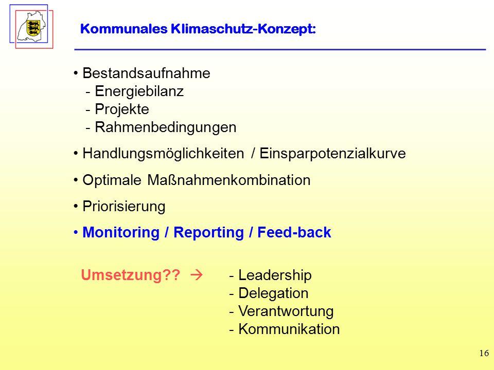 16 Bestandsaufnahme - Energiebilanz - Projekte - Rahmenbedingungen Handlungsmöglichkeiten / Einsparpotenzialkurve Optimale Maßnahmenkombination Priorisierung Monitoring / Reporting / Feed-back Kommunales Klimaschutz-Konzept: Umsetzung?.