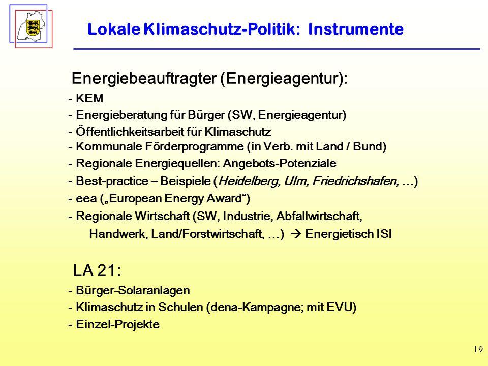 19 Lokale Klimaschutz-Politik: Instrumente Energiebeauftragter (Energieagentur): - KEM - Energieberatung für Bürger (SW, Energieagentur) - Öffentlichkeitsarbeit für Klimaschutz - Kommunale Förderprogramme (in Verb.