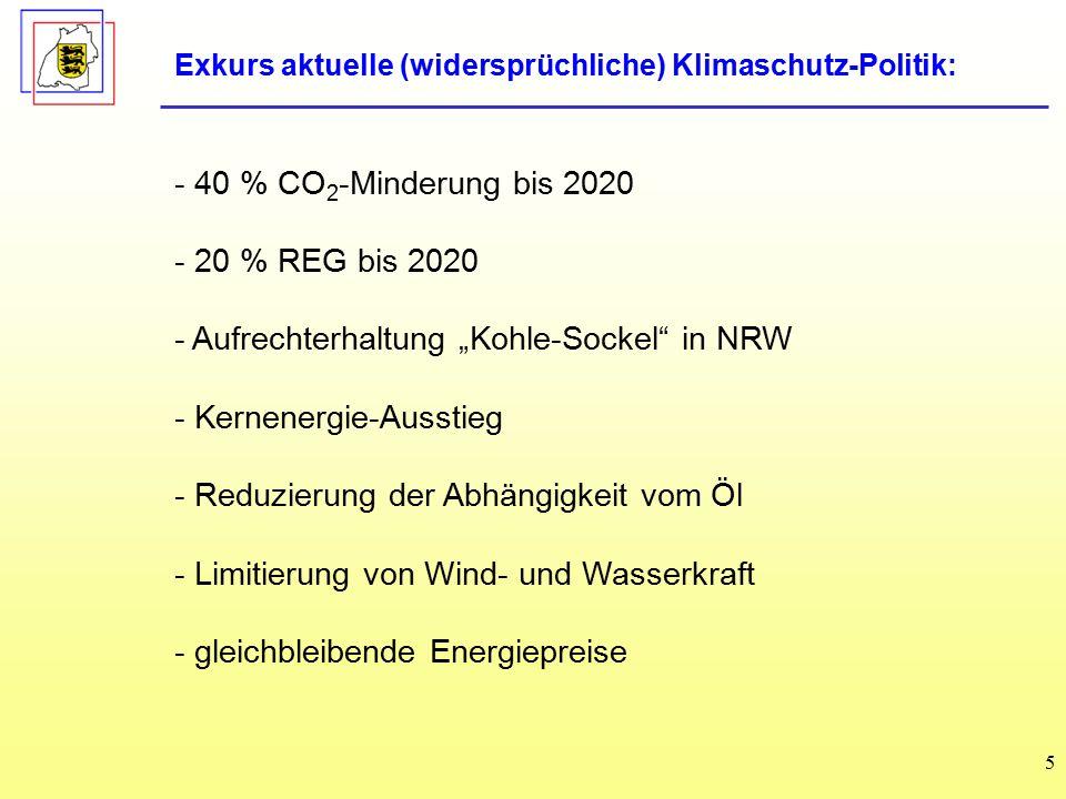 """5 - 40 % CO 2 -Minderung bis 2020 - 20 % REG bis 2020 - Aufrechterhaltung """"Kohle-Sockel in NRW - Kernenergie-Ausstieg - Reduzierung der Abhängigkeit vom Öl - Limitierung von Wind- und Wasserkraft - gleichbleibende Energiepreise Exkurs aktuelle (widersprüchliche) Klimaschutz-Politik:"""