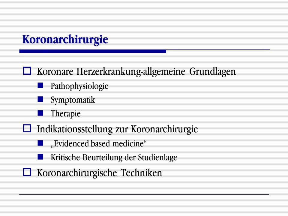 """Koronarchirurgie  Koronare Herzerkrankung-allgemeine Grundlagen Pathophysiologie Symptomatik Therapie  Indikationsstellung zur Koronarchirurgie """"Evi"""