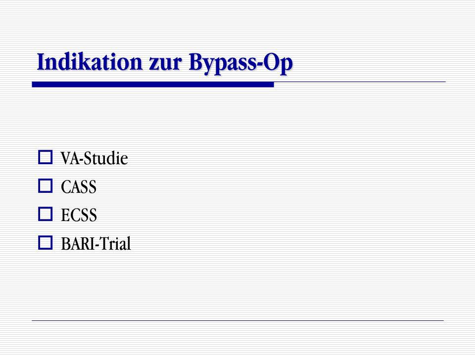 Indikation zur Bypass-Op  VA-Studie  CASS  ECSS  BARI-Trial