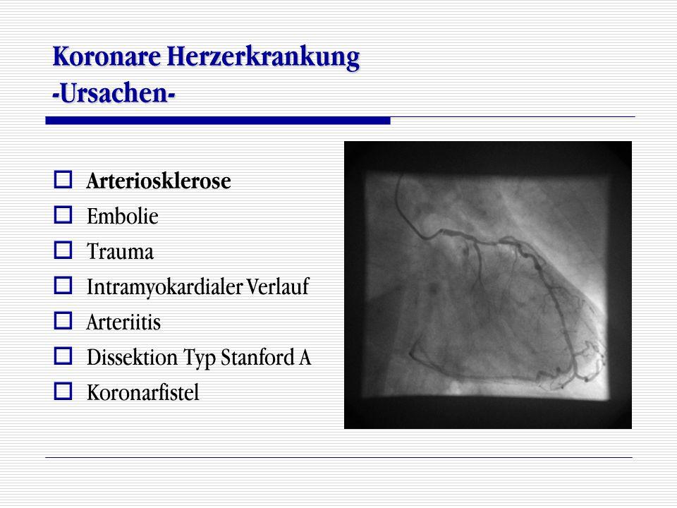 Koronare Herzerkrankung -Ursachen-  Arteriosklerose  Embolie  Trauma  Intramyokardialer Verlauf  Arteriitis  Dissektion Typ Stanford A  Koronar