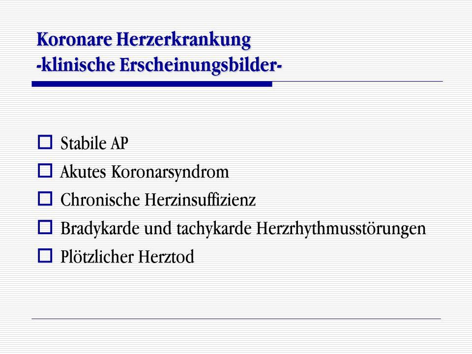 Koronare Herzerkrankung -klinische Erscheinungsbilder-  Stabile AP  Akutes Koronarsyndrom  Chronische Herzinsuffizienz  Bradykarde und tachykarde