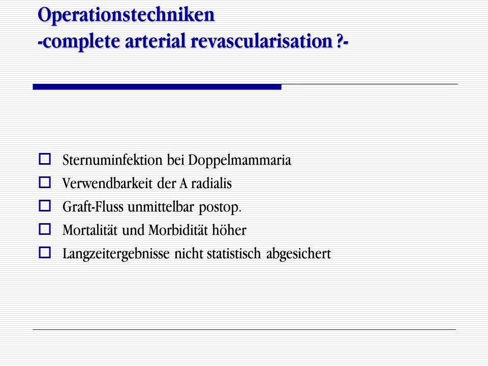 Operationstechniken -complete arterial revascularisation ?-  Sternuminfektion bei Doppelmammaria  Verwendbarkeit der A radialis  Graft-Fluss unmitt