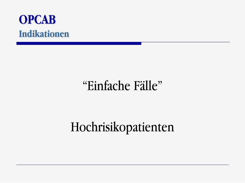 """OPCAB Indikationen """"Einfache Fälle"""" Hochrisikopatienten"""