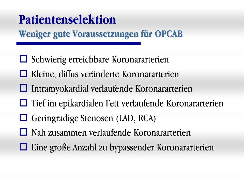 Patientenselektion Weniger gute Voraussetzungen für OPCAB  Schwierig erreichbare Koronararterien  Kleine, diffus veränderte Koronararterien  Intram
