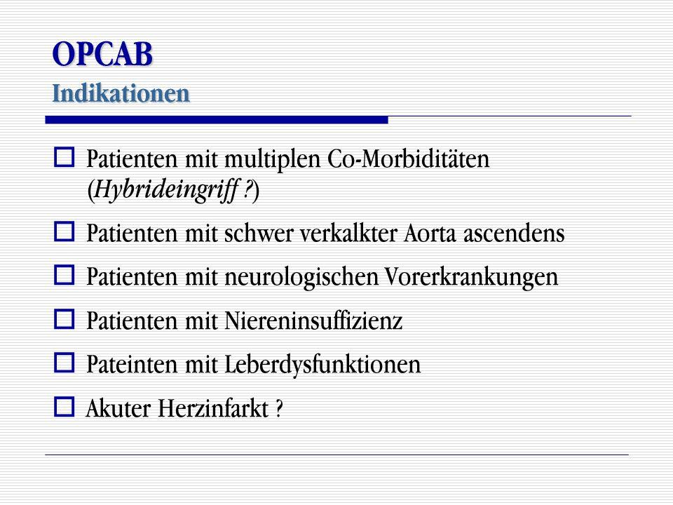 OPCAB Indikationen  Patienten mit multiplen Co-Morbiditäten ( Hybrideingriff ? )  Patienten mit schwer verkalkter Aorta ascendens  Patienten mit ne