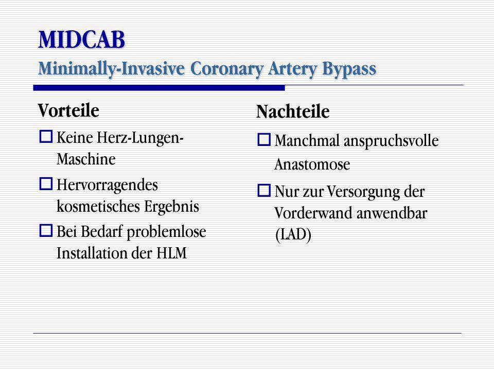 MIDCAB Minimally-Invasive Coronary Artery Bypass Vorteile  Keine Herz-Lungen- Maschine  Hervorragendes kosmetisches Ergebnis  Bei Bedarf problemlos