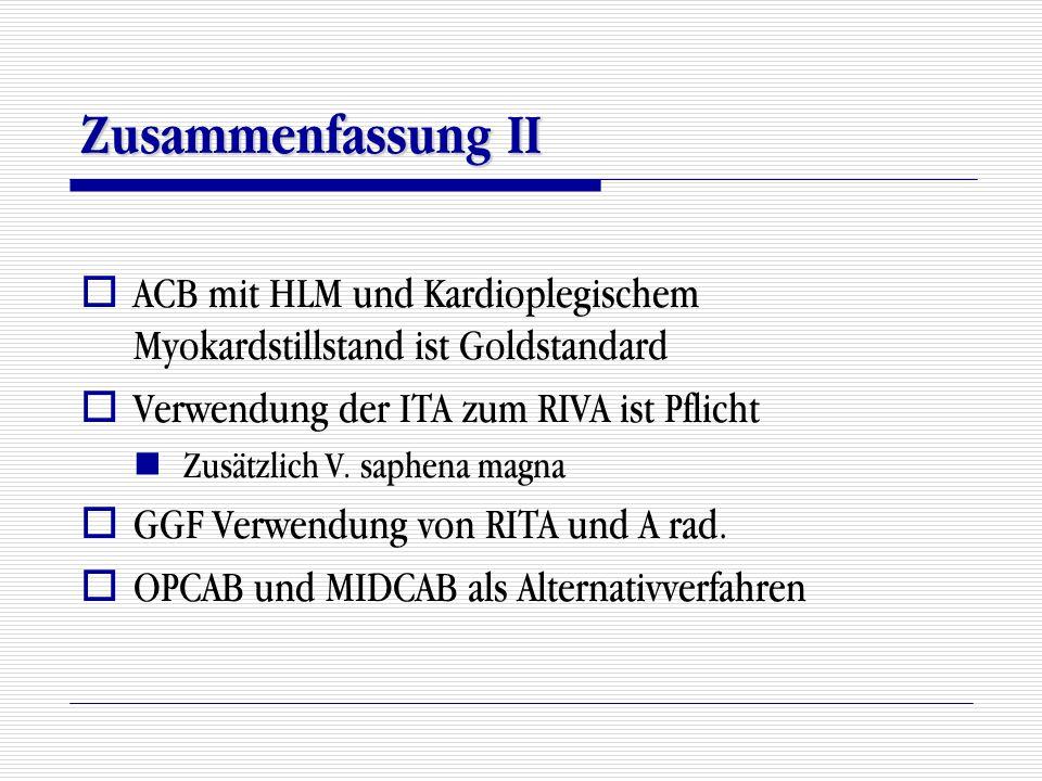 Zusammenfassung II  ACB mit HLM und Kardioplegischem Myokardstillstand ist Goldstandard  Verwendung der ITA zum RIVA ist Pflicht Zusätzlich V. saphe