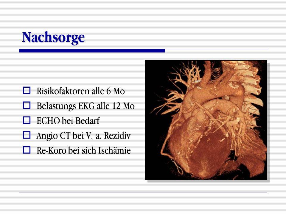 Nachsorge  Risikofaktoren alle 6 Mo  Belastungs EKG alle 12 Mo  ECHO bei Bedarf  Angio CT bei V. a. Rezidiv  Re-Koro bei sich Ischämie