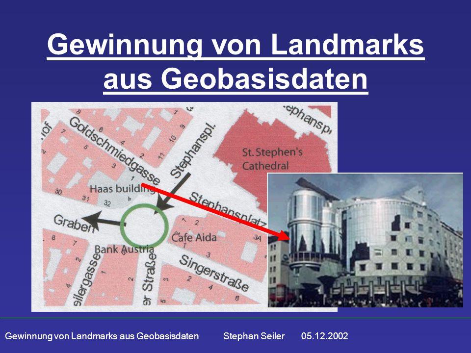 Gewinnung von Landmarks aus Geobasisdaten Stephan Seiler 05.12.2002 Gewinnung von Landmarks aus Geobasisdaten