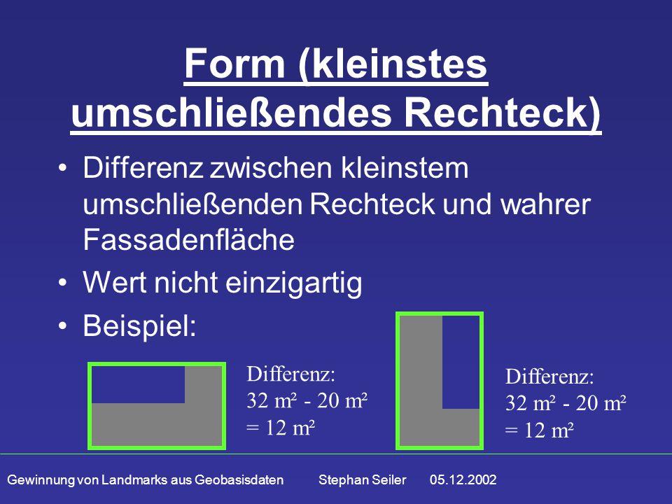 Gewinnung von Landmarks aus Geobasisdaten Stephan Seiler 05.12.2002 Form (kleinstes umschließendes Rechteck) Differenz zwischen kleinstem umschließenden Rechteck und wahrer Fassadenfläche Wert nicht einzigartig Beispiel: Differenz: 32 m² - 20 m² = 12 m²