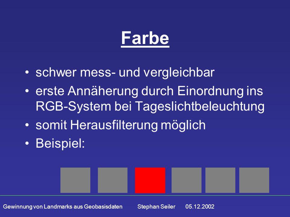 Gewinnung von Landmarks aus Geobasisdaten Stephan Seiler 05.12.2002 Farbe schwer mess- und vergleichbar erste Annäherung durch Einordnung ins RGB-System bei Tageslichtbeleuchtung somit Herausfilterung möglich Beispiel: