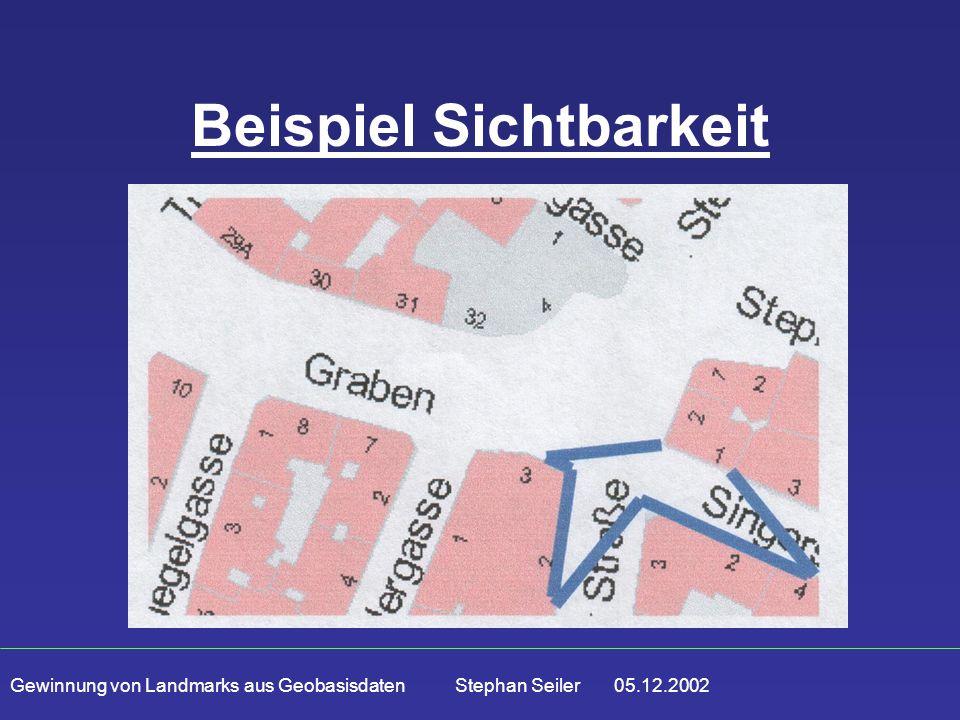 Gewinnung von Landmarks aus Geobasisdaten Stephan Seiler 05.12.2002 Beispiel Sichtbarkeit