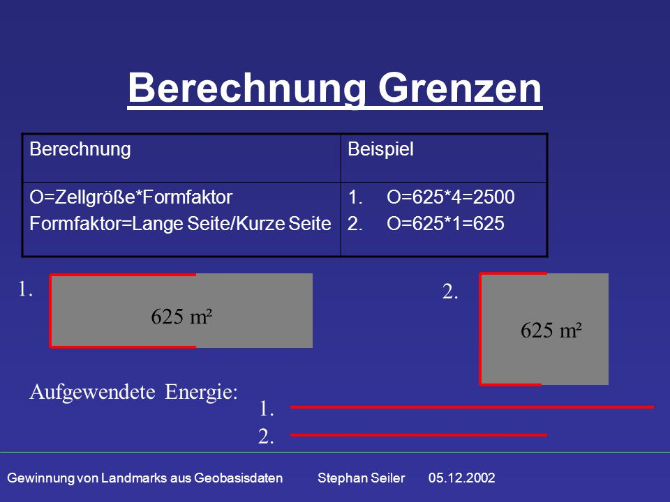 Gewinnung von Landmarks aus Geobasisdaten Stephan Seiler 05.12.2002 Berechnung Grenzen BerechnungBeispiel O=Zellgröße*Formfaktor Formfaktor=Lange Seite/Kurze Seite 1.O=625*4=2500 2.O=625*1=625 1.