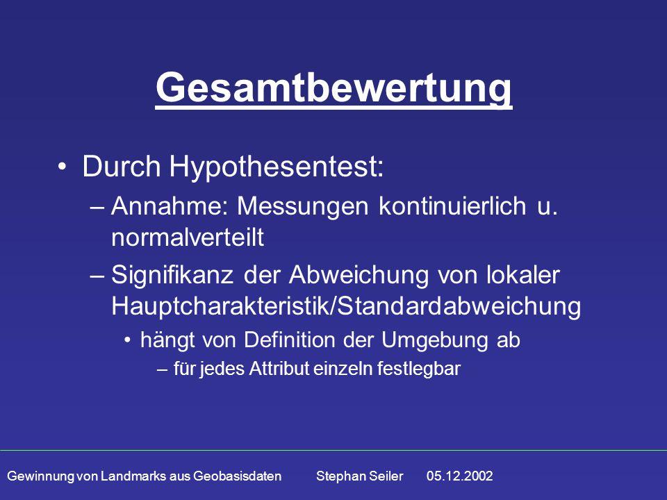 Gewinnung von Landmarks aus Geobasisdaten Stephan Seiler 05.12.2002 Gesamtbewertung Durch Hypothesentest: –Annahme: Messungen kontinuierlich u. normal