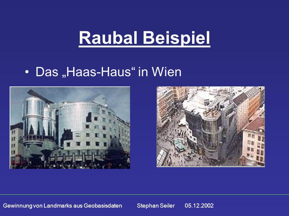 """Gewinnung von Landmarks aus Geobasisdaten Stephan Seiler 05.12.2002 Raubal Beispiel Das """"Haas-Haus in Wien"""